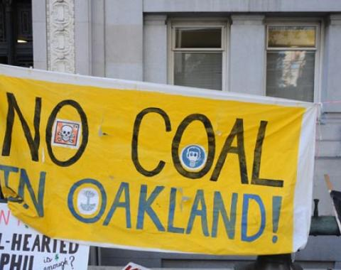 Protest at Oakland City Council hearing on coal. ©2015 Eric  K. Arnold