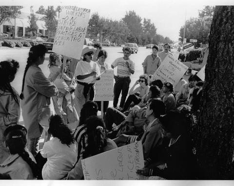 Versatronex electronics assembly plant workers on strike, September 1992. ©1992 David Bacon