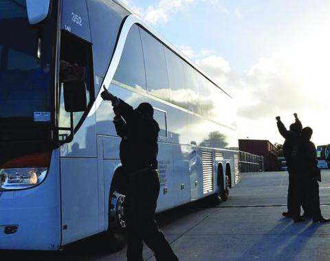 Shuttle drivers celebrate after vote to unionize. Courtesy of Teamsters Local 853